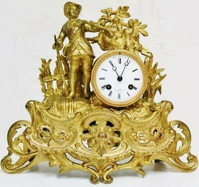 Antique French 8 Day Bell Striking Gilt Metal Gentleman Figurine Mantel Clock