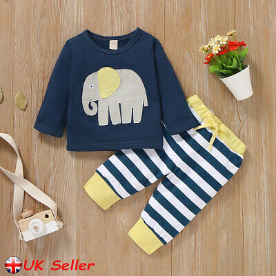 UK Newborn Baby Boy Girl 2pcs Elephant Clothes Shirt Tops Pant Infant Outfit Set