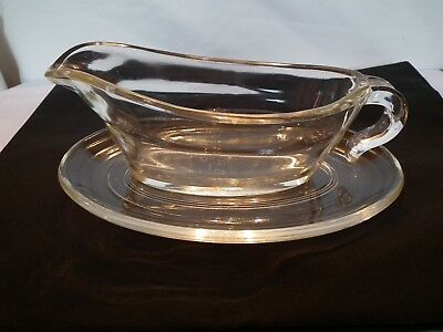 Vintage Retro  Glass  Sauce Gravy Boat And Plate By Phoenix