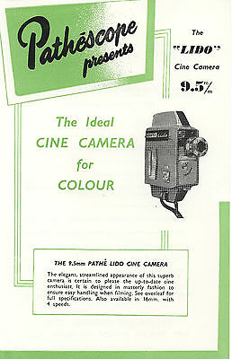 PATHE /PATHESCOPE LIDO 9.5mm CINE CAMERA Sales Leaflet 1959