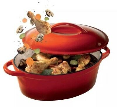 ERNESTO Professional Cast Iron Roasting Dish 4L - Roasting, Stewing or Braising.