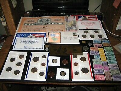 JUNK DRAWER Coin Lot SILVER COINS 2003 Mint Set Lot Railroad Stamps Copper SILK