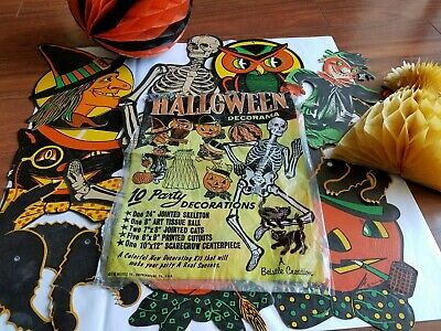 Vintage Halloween Decorama1950s Beistle  Set Original 10 Party Decorations & Bag