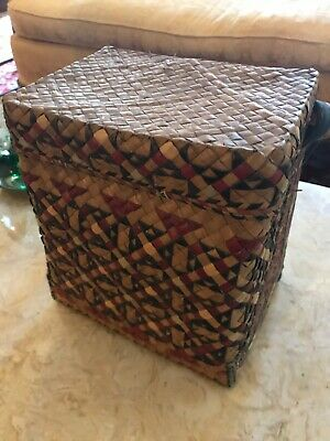 Antique Lidded Rectangualr Woven Basket with Carrying or Burden Strap