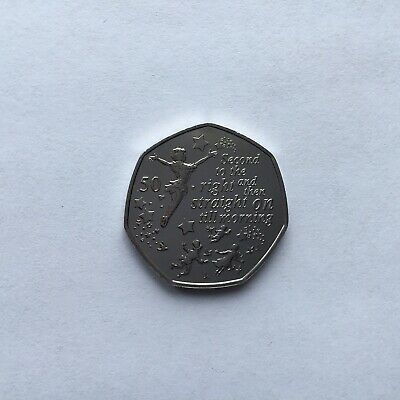 2019 Peter Pan Flying 50p Straight On Till Morning New Isle Of Man Uncirculated