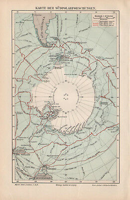 Antique map. HISTORIC MAP. THE SOUTH POLE RESEARCHES. 1895