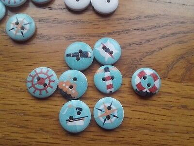 100 Round Nautical Themed Buttons 15mm Multi Coloured & Blue Wood Colour