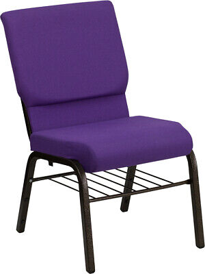 18.5'' Wide Purple Fabric Church Chair with Book Rack & Gold Vein Frame
