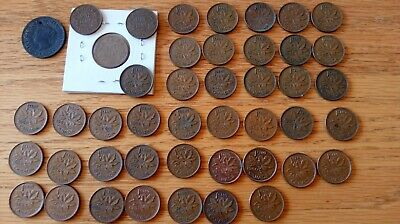 45 Canadian pennies 1891-1964 1 Large & 44 Small Cents lot