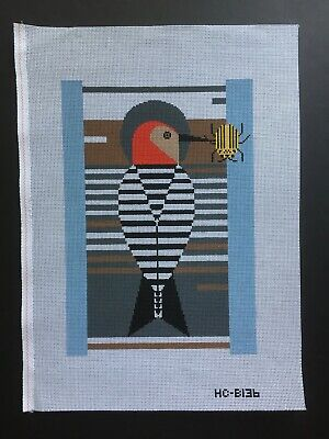 """Charley Harper Hand-painted Needlepoint Canvas Colorful """"Baffling Belly"""""""
