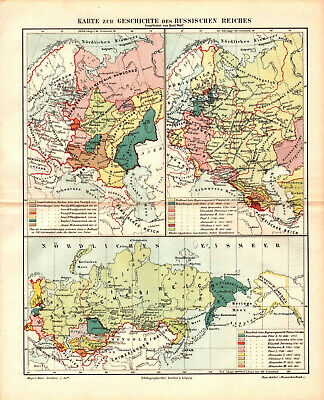 Antique map. HISTORIC MAP. HISTORY OF RUSSIAN EMPIRE. c 1895