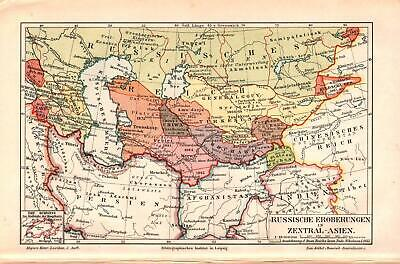 Antique map. HISTORIC MAP. RUSSIAN EMPIRE TERRITORIES IN CENTRAL ASIA. c 1895