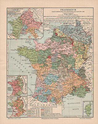 Antique map. HISTORIC MAP. HISTORY OF FRANCE FROM 15th TO 19th CENTURY.  c 1895