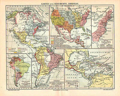 Antique map. HISTORIC MAP. HISTORY OF NORTH & SOUTH AMERICA. c 1895