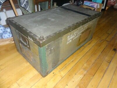 VTG MILITARY TRUNK Foot Locker US Army cargo box green chest WWII 1940's Dated