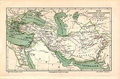 Antique map. HISTORIC MAP. EMPIRE OF ALEXADER THE GREAT. c 1895