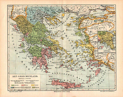 Antique map. HISTORIC MAP. HISTORY OF THE ANCIENT GREECE. c 1895
