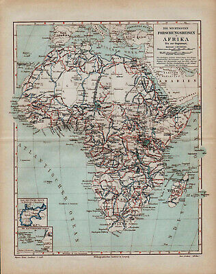 Antique map. HISTORIC MAP. HISTORY OF AFRICA RESEARCHES. 1895
