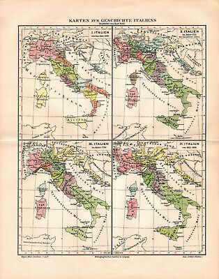 Antique map. HISTORIC MAP. HISTORY OF ITALY. c 1895