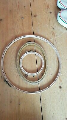 3 embroidery hoops, 2 wooden, 1 rubber