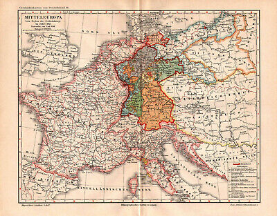 Antique map. HISTORIC MAP. GERMANY IN 1813 YEAR.  c 1895