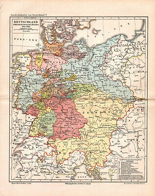 Antique map. HISTORIC MAP. GERMANY IN 1815-1866 YEAR.  c 1895