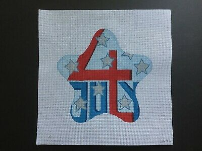 Cindy Designs Hand-painted Needlepoint Canvas Large 4th of July Star Ornament