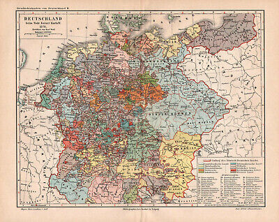 Antique map. HISTORIC MAP. GERMANY IN 1378 YEAR.  c 1895