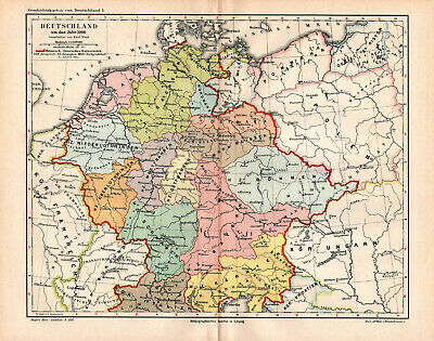Antique map. HISTORIC MAP. GERMANY IN 1000 YEAR.  c 1895