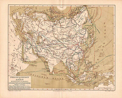 Antique map. HISTORIC MAP. HISTORY OF ASIA RESEARCHES. c 1895