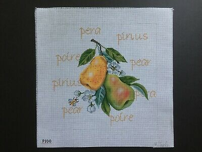 "Gayla Elliott Designs Hand-painted Needlepoint Canvas Botanical ""Pears"""