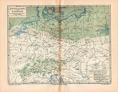 Antique map. HISTORIC MAP. GERMANY & CENTRAL EUROPE IN THE ICE AGE. 1895