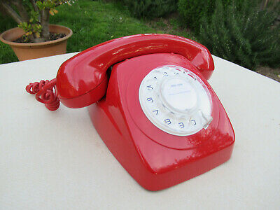 Vintage Telephone Red Table Dial Phone  C1975  *Superb*