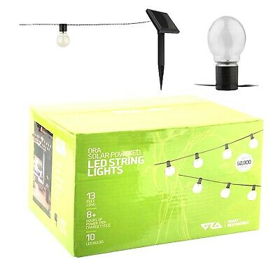 ORA Solar Powered String Lights, 10 LED Clear Ball Waterproof Outdoor Lights,