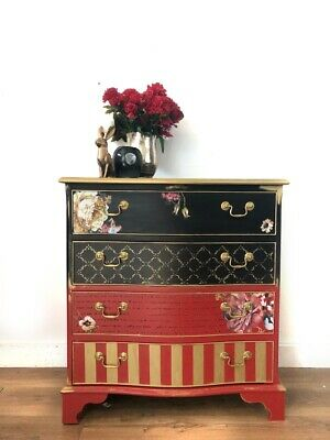 Stunninn 1950's Floral Chest Of Drawers