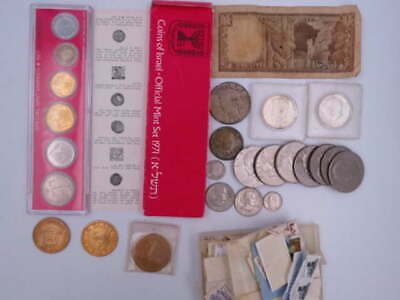 Us & World Silver &Older Coin Currency Token & Stamp Lot Silver Peace Kennedy