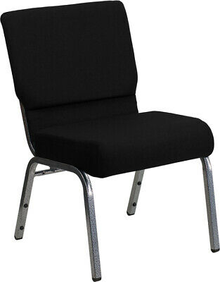 21'' Wide Black Fabric Stacking Church Chair with Silver Vein Frame