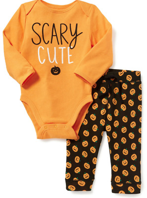 "OLD NAVY Baby Boys 18-24 months ""Scary Cute"" Halloween Pumpkin Outfit Set - NEW"