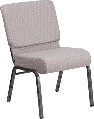 21'' Wide Gray Dot Fabric Stacking Church Chair with Silver Vein Frame