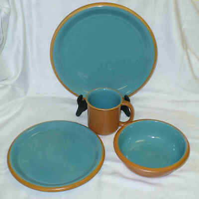 4 pc CROWN CORNING JAPAN SONORA Turquoise Dinner, Salad, Bowl, Cup - NEW