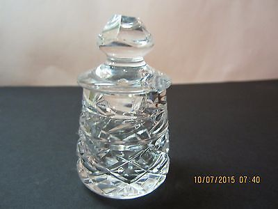 Waterford Crystal Honey Pot Mustard Jar-W/ Lid-Acid Etch Signature Old & Rare