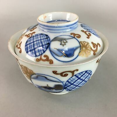 Japanese Imari Lidded Rice Bowl Antique Porcelain Sumetsuke Blue White PT768