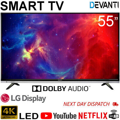 New 55 Inch LED LCD 4K Smart TV Ultra HD UHD HDR Slim Netflix Television Black
