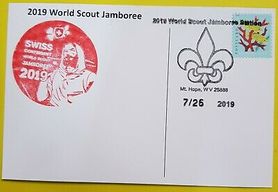 24th world scout jamboree 2019  Postmark on USPS official postcard and SWISS
