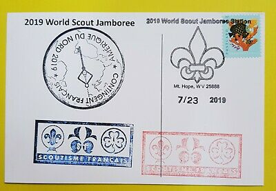 24th world scout jamboree 2019  Postmark on USPS official postcard and FRANCE