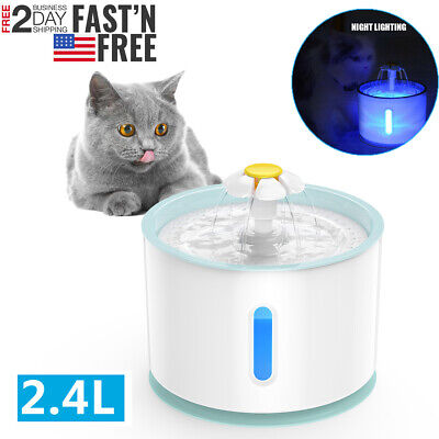 2.4L LED Automatic Electric Pet Water Fountain USB Cat / Dog Drinking Dispenser