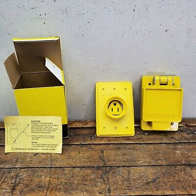 WOODHEAD 60W47 WATERTITE FLIP LID RECEPTACLE FD Box 15A 125v 5-15R 17B
