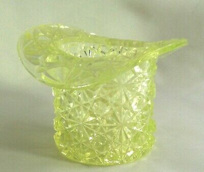 """Antique Vaseline  Glass Light Yellow Mini Top Hat ~Stands 2 3/8"""" Tall"""