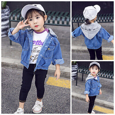 Kids Girls Jackets Denim Style Hooded Jean Short Coat Outerwear Baby Overcoat