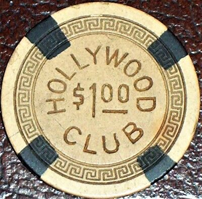 Old HOLLYWOOD CLUB Illegal Casino Poker Chip Vintage Antique Small Key Mold Ohio